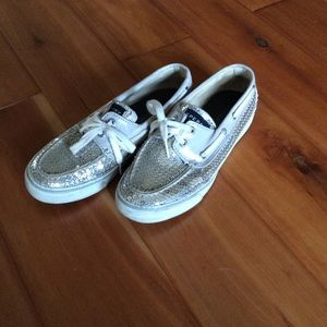 Spearhead top siders Silver sequin boat shoes